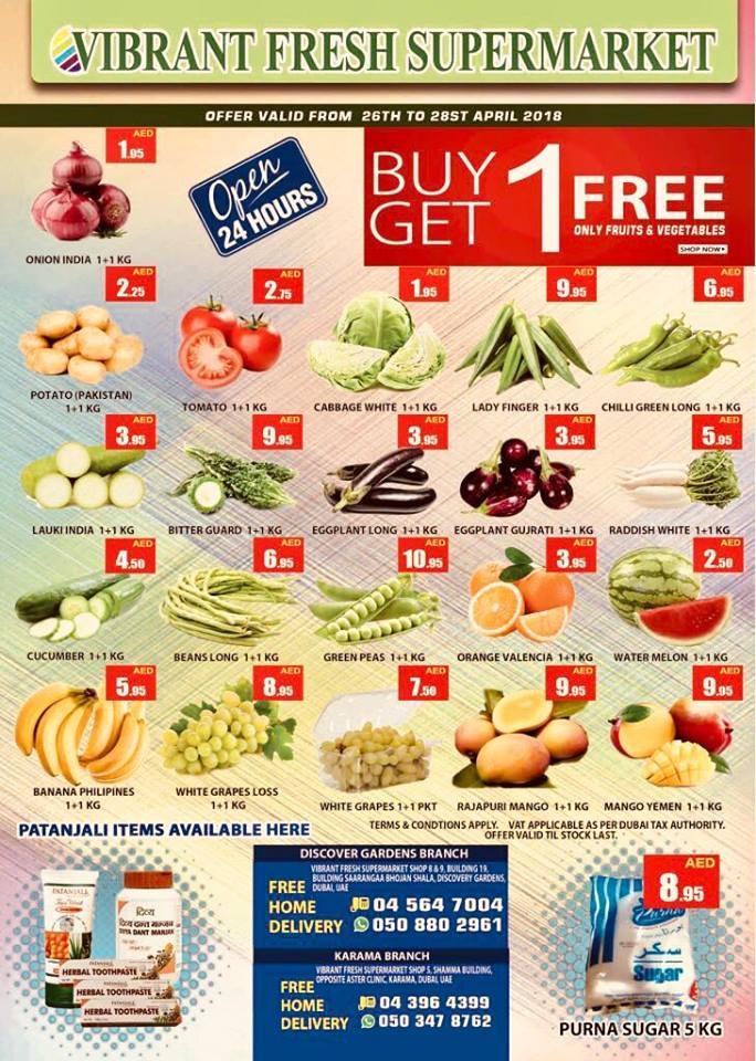 Vibrant Fresh Supermarket Buy 1 Get 1 Free Offers in Dubai